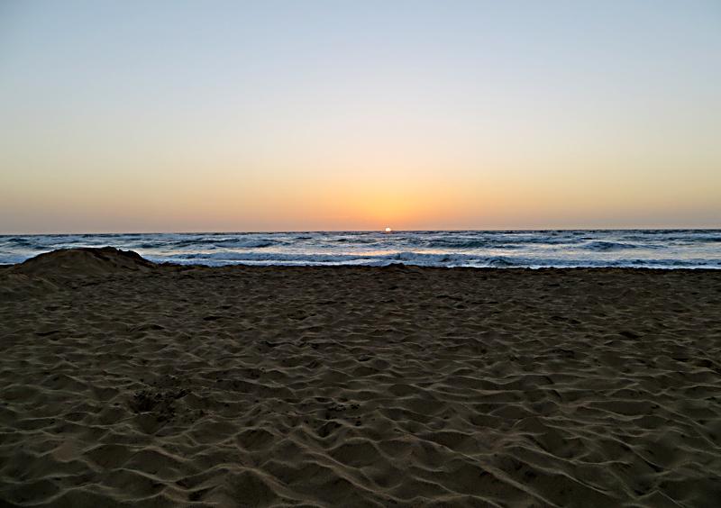 Sonnenaufgang Fuerteventura Blick Direkt Gen Himmelsrichtung Ost In